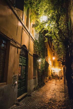 Street in Rome - night view.