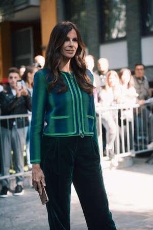 Milan, Italy- September 22, 2017: Fashion girl posing during Milan Fashion Week - street style concept. Editorial