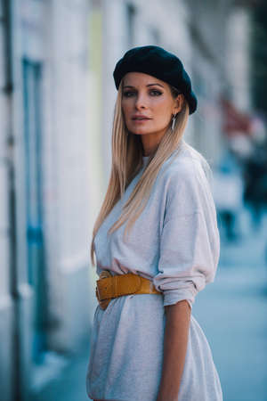 Milan ,Italy- September 24, 2017: Fashion girl posing during Milan Fashion Week - street style concept.