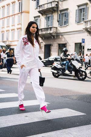 Milan, Italy - September 23, 2017: Woman on the street during the Milan Fashion Week.