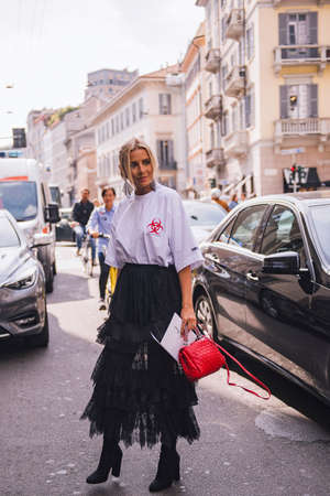 Milan, Italy- September 23, 2017: Fashion girl posing during Milan Fashion Week - street style concept. Editorial