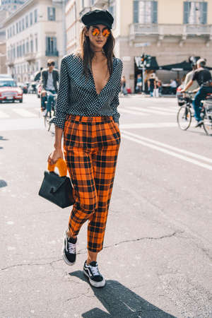 Milan, Italy - September 23, 2017: Woman on the street during the Milan Fashion Week.
