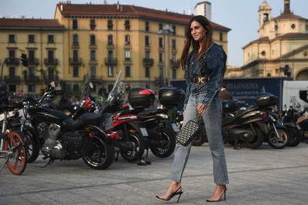 September 20, 2018: Milan, Italy -  Street style outfit during Milan Fashion Week - MFWSS19