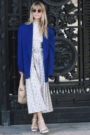 Paris, France -February 27, 2019: Street style outfit -  Jeanette Madsen before a fashion show during Paris Fashion Week - PFWFW19