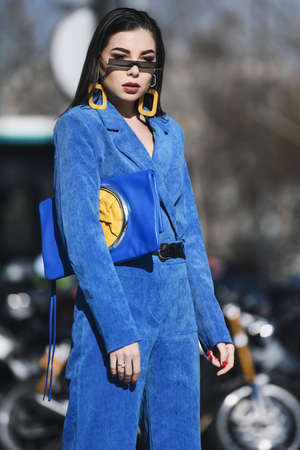 Paris, France -February 27, 2019: Street style outfit -  Karina Nigay before a fashion show during Paris Fashion Week - PFWFW19