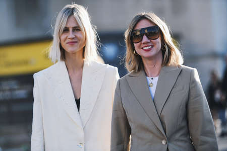 Paris, France -February 27, 2019: Street style outfit - Linda Tol, Lisa Aiken before a fashion show during Paris Fashion Week - PFWFW19