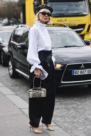 Paris, France - February 28, 2019: Street style outfit -  Viktoria Rader before a fashion show during Paris Fashion Week - PFWFW19