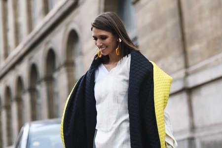 Paris, France - February 28, 2019: Street style outfit -  Landiana Cerciu before a fashion show during Paris Fashion Week - PFWFW19 Publikacyjne