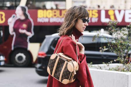 Paris, France - February 28, 2019: Street style outfit -  Natasha Goldenberg before a fashion show during Paris Fashion Week - PFWFW19