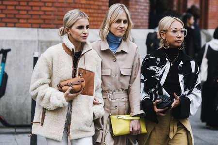 Paris, France - March 01, 2019: Street style outfit - Caroline Daur, Linda Tol, Vanessa Hong after a fashion show during Paris Fashion Week - PFWFW19 Sajtókép