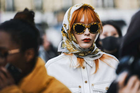 Paris, France - March 02, 2019: Street style outfit -   after a fashion show during Paris Fashion Week - PFWFW19