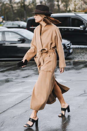 Paris, France - March 02, 2019: Street style outfit -  Celine Aagaard after a fashion show during Paris Fashion Week - PFWFW19 Publikacyjne