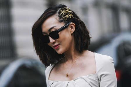Paris, France - March 02, 2019: Street style outfit -  Chriselle Lim after a fashion show during Paris Fashion Week - PFWFW19 Publikacyjne