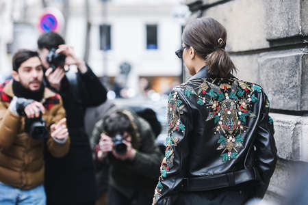 Paris, France - March 02, 2019: Street style outfit -  Camila Coelho after a fashion show during Paris Fashion Week - PFWFW19