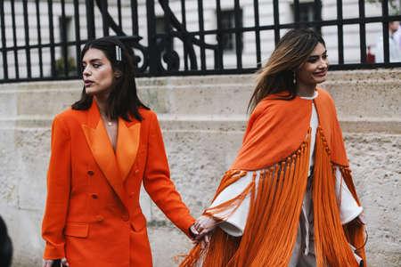 Paris, France - March 02, 2019: Street style outfit -  Aida Domenech, Angela Rozas Saiz after a fashion show during Paris Fashion Week - PFWFW19