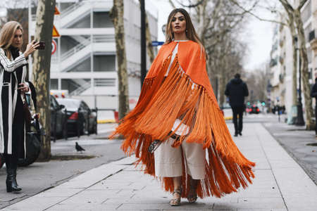 Paris, France - March 02, 2019: Street style outfit -  Angela Rozas Saiz after a fashion show during Paris Fashion Week - PFWFW19