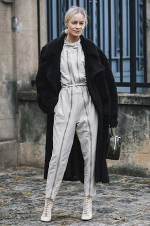 Paris, France - March 03, 2019: Street style outfit -  Thora Valdimars after a fashion show during Paris Fashion Week - PFWFW19