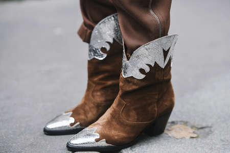 Paris, France - March 03, 2019: Street style outfit -  Cowboy Boots in detail after a fashion show during Paris Fashion Week - PFWFW19 Editorial