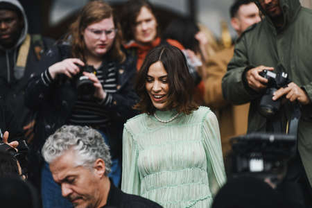 Paris, France - March 04, 2019: Fashion personality hunted by street style photographers during Paris Fashion Week - PFWFW19