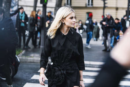 Paris, France - March 05, 2019: Street style outfit -  Caroline Daur after a fashion show during Paris Fashion Week - PFWFW19