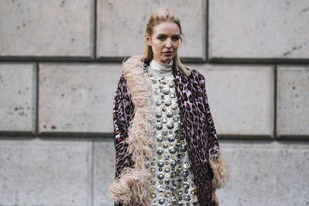 Paris, France - March 5, 2019: Street style outfit -  Leonie Hanne before a fashion show during Paris Fashion Week - PFWFW19 Publikacyjne