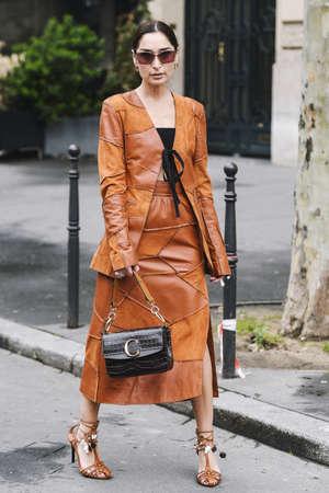 Paris, France - March 02, 2019: Street style outfit -  Geraldine Boublil after a fashion show during Paris Fashion Week - PFWFW19 Publikacyjne