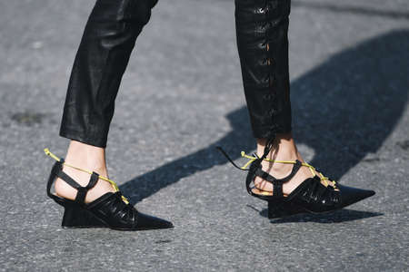 Milan, Italy - February 21, 2019: Street style – Shoes detail before a fashion show during Milan Fashion Week - MFWFW19