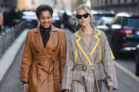 Milan, Italy - February 22, 2019: Street style – Influencers Tamu McPherson and Linda Tol after Sajtókép