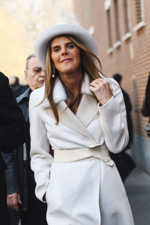 Milan, Italy - February 21, 2019: Street style – Fashion journalist Anna Dello Russo before a fashion show during Milan Fashion Week - MFWFW19