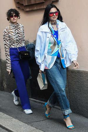 Milan, Italy - February 21, 2019: Street style - Influencer Doina Ciobanu after a fashion show during Milan Fashion Week - MFWFW19