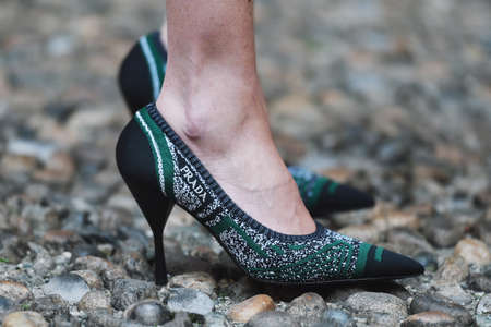 Milan, Italy - February 21, 2019: Street style – Prada shoes detail after a fashion show during Milan Fashion Week - MFWFW19 Editorial