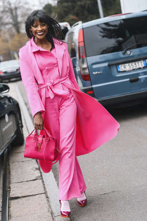 Milan, Italy - February 23, 2019: Street style – Gisele de Assis after a fashion show during Milan Fashion Week - MFWFW19
