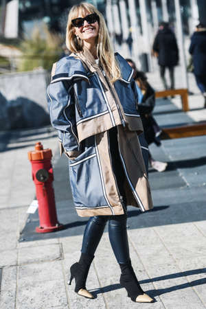Milan, Italy - February 22, 2019: Street style – Jeanette Madesn after a fashion show during Milan Fashion Week - MFWFW19