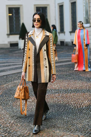 Milan, Italy - February 22, 2019: Street style – Outfit before a fashion show during Milan Fashion Week - MFWFW19