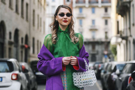 Milan, Italy - February 24, 2019: Street style – outfit after a fashion show during Milan Fashion Week - MFWFW19