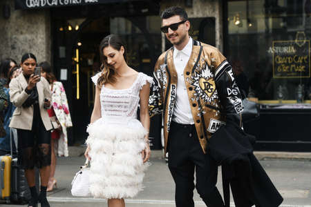 Milan, Italy - February 24, 2019: Street style – Dolce & Gabbana jacket after a fashion show during Milan Fashion Week - MFWFW19