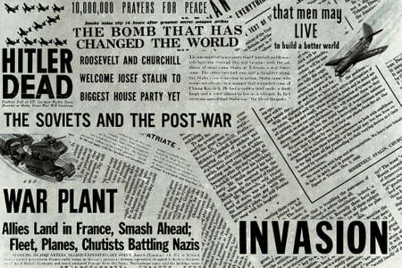 New York, USA - December 15, 2019: Collage of newpaper headlines, draws and articles during World War II.