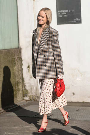 Milan, Italy - February 21, 2020: Thora Valdimars before a fashion show during Milan Fashion Week - streetstylefw20