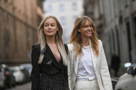 Milan, Italy - February 20, 2020: Thora Valdimars, Jeanette Madsen before a fashion show during Milan Fashion Week - streetstylefw20
