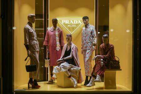Milan, Italy - January 13, 2020: Prada outfits showcase at night Editorial