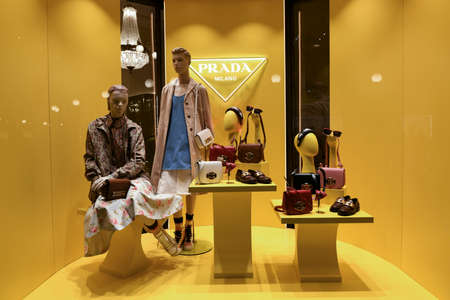 Milan, Italy - January 11, 2020: Prada women's outfits and accessories showcase