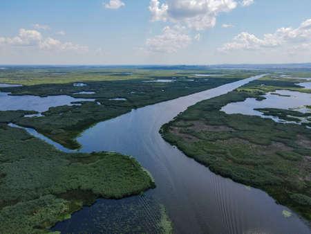 Danube Delta in Somova village, Dobrogea region,  Romania. Aerial view.