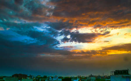 colorful sky: Colorful Sky with clouds for background