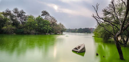 Wreckage of a boat at Hauz Khas Lake