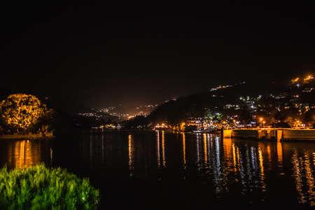Illuminated view of Bhimtal lake, Bhimtal
