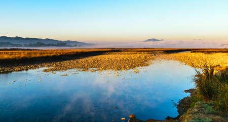 冬の朝の霧、川 Ramganga の流れるような生命線ジム Corbett の国立公園の