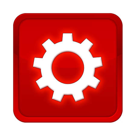 gearwheel: gearwheel button red square