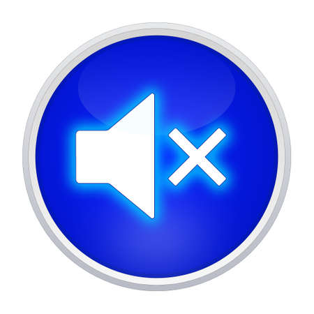 mute button blue round photo