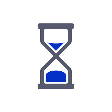 bicolor: hourglass wait icon grey blue two colored Stock Photo