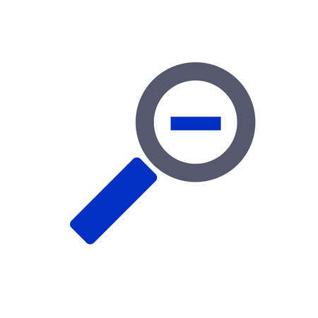 zoom out: zoom out icon grey blue two colored